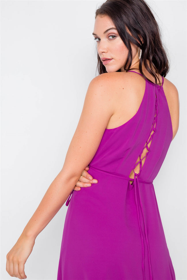 Magenta Flounce Cami Solid Midi Wrap Dress