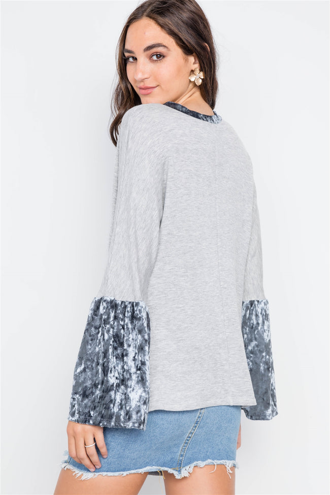 Grey Combo Velvet Bell Sleeves Sweater