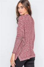 Burgundy Heathered Dolman Sleeves Knit Sweater Top