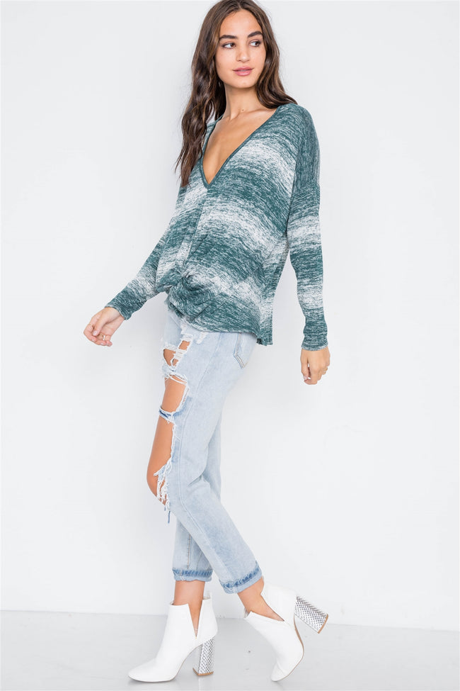 Green Deep V-Neck Front-Twist Sweater