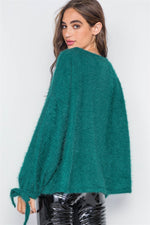 Teal Fuzzy Slit Sleeves Casual Soft Sweater