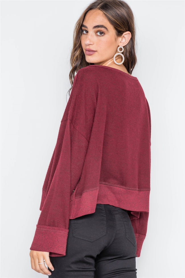 Burgundy Soft Knit Side-Button Sweater