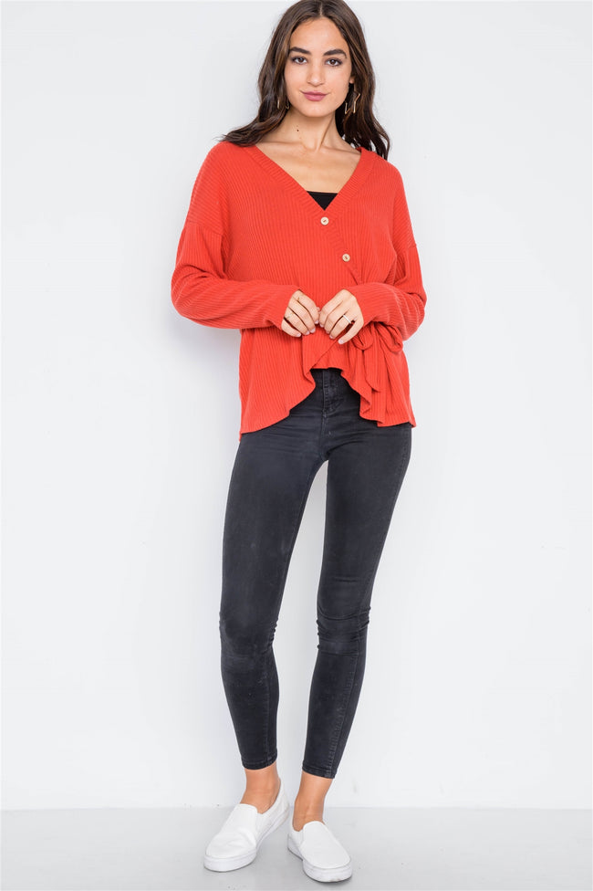 Orange Red Front-Tie Ribbed Surplice Neck Sweater