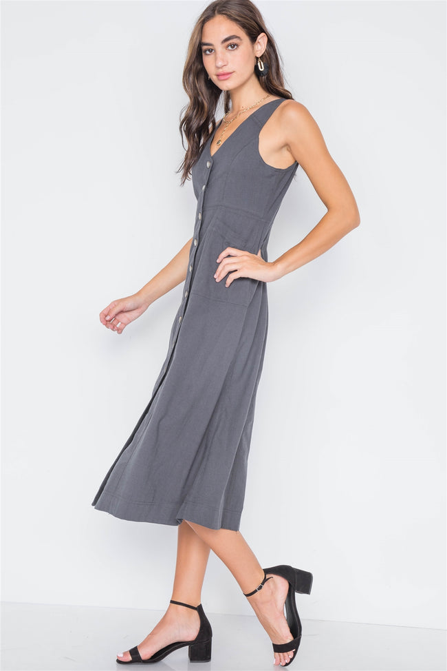 Tornado Button-Front A-Line Midi Dress