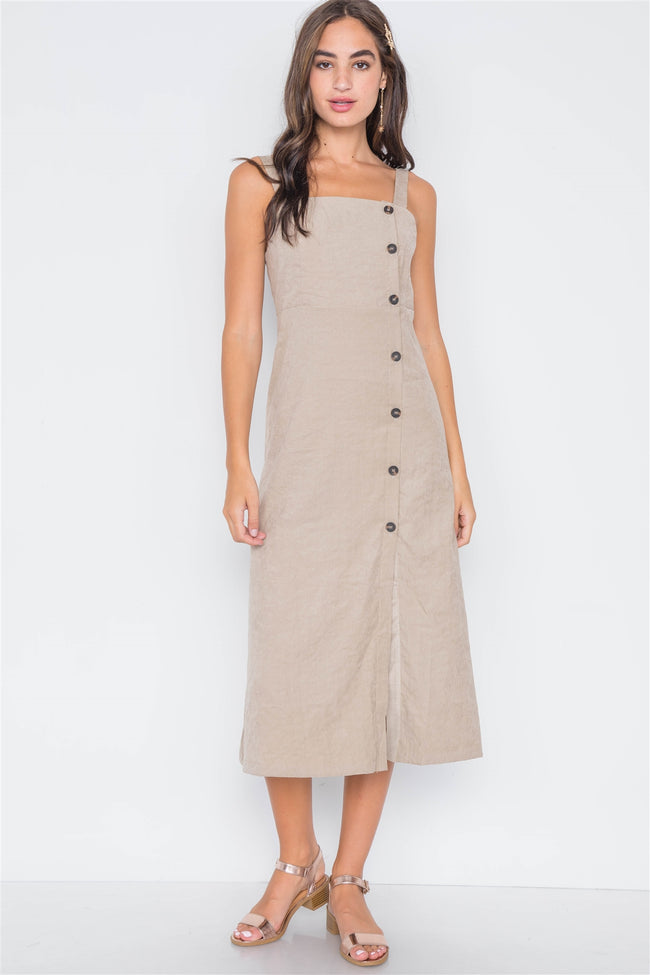 Sand Crushed Button-Front Midi Dress
