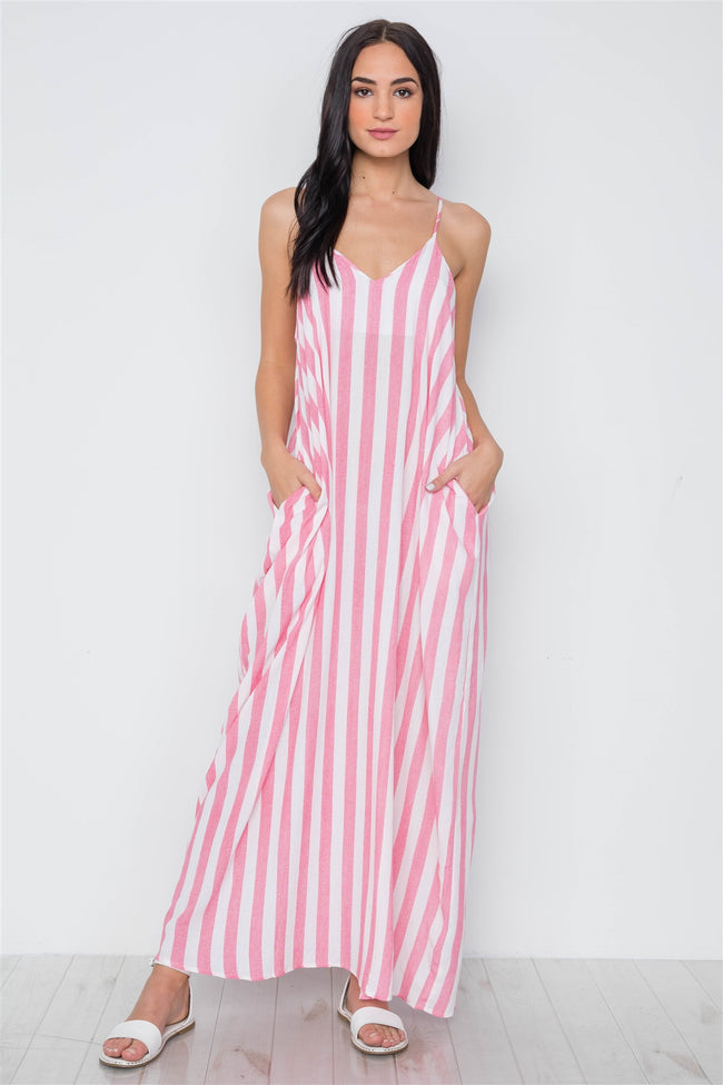 Pink White Stripe Cami Maxi Dress