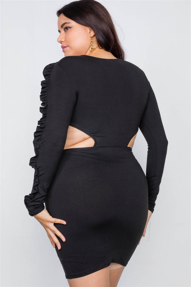 Plus Size Black Cut-Out Mini Dress