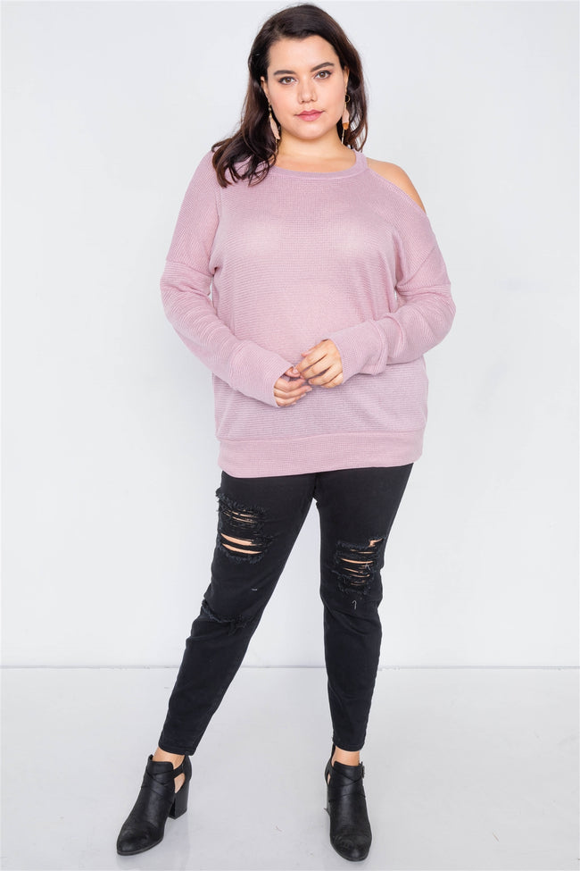 Plus Size Sheer Pink Cotton Could Shoulder Sweater