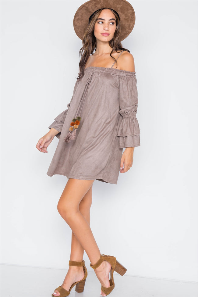 Grey Taupe Faux Suede Off-The-Shoulders Mini Dress