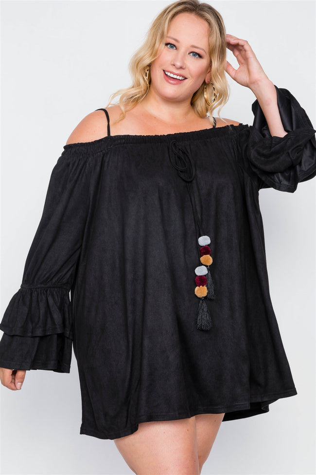 Plus Size Black Faux Suede Mini Dress