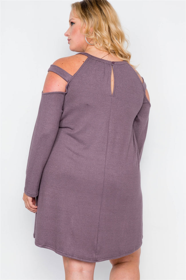 Plus Size Mauve Knit Strap Shoulder Long Sleeve Dress