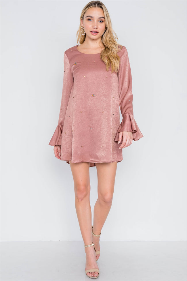 Mauve Long Bell Sleeves Rhinestone Mini Dress