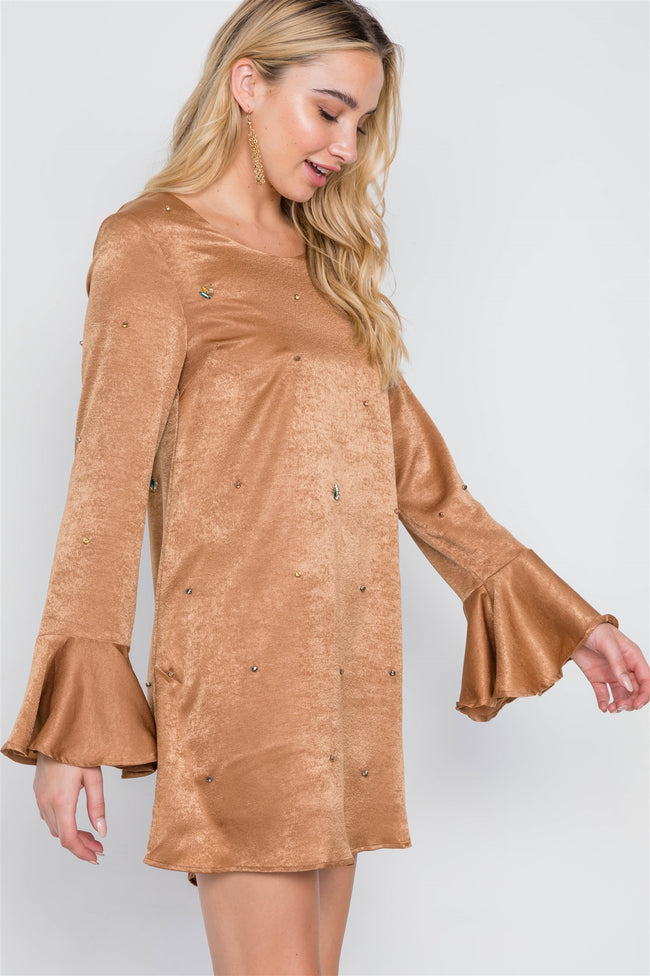 Mocha Bell Sleeves Rhinestone Mini Dress