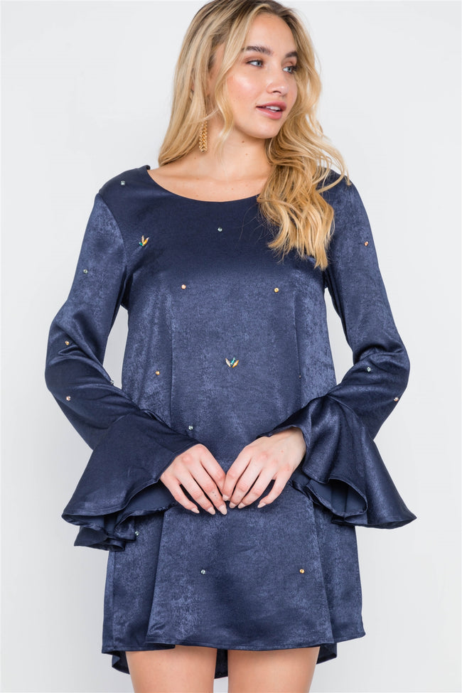 Navy Bell Sleeves Rhinestone Mini Dress