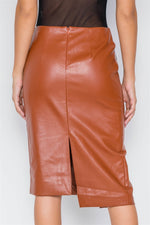 Camel  Vegan Leather High-Waist Asymmetrical Hem Skirt