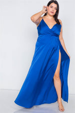 Plus Size Silk Blue Pleated Slit Classic Maxi Dress