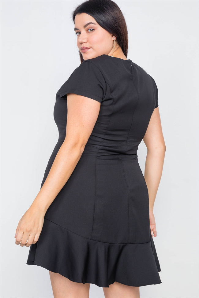 Plus Size Black Casual Flounce Trim Cap Sleeve Mini Dress
