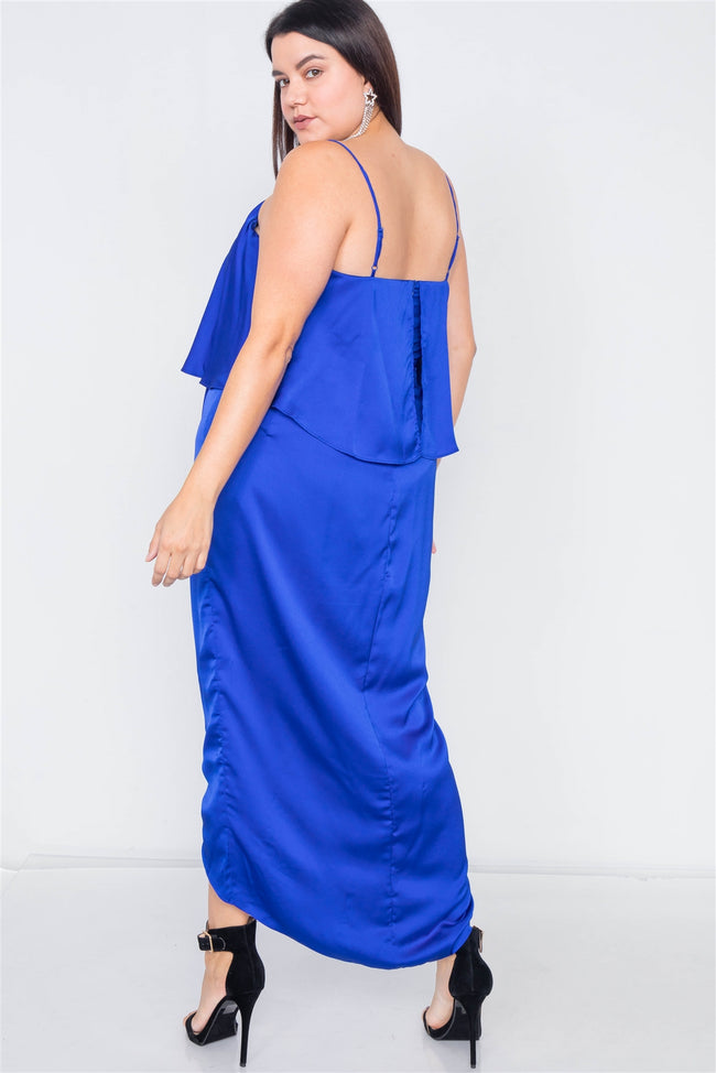 Plus Size Blue Satin Flounce Bandage Midi Dress