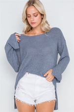 Blue Grey Scoop Neck Long Sleeves Sweater