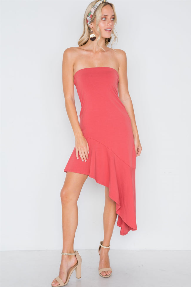 Berry Strapless Flounce Hem Solid Dress
