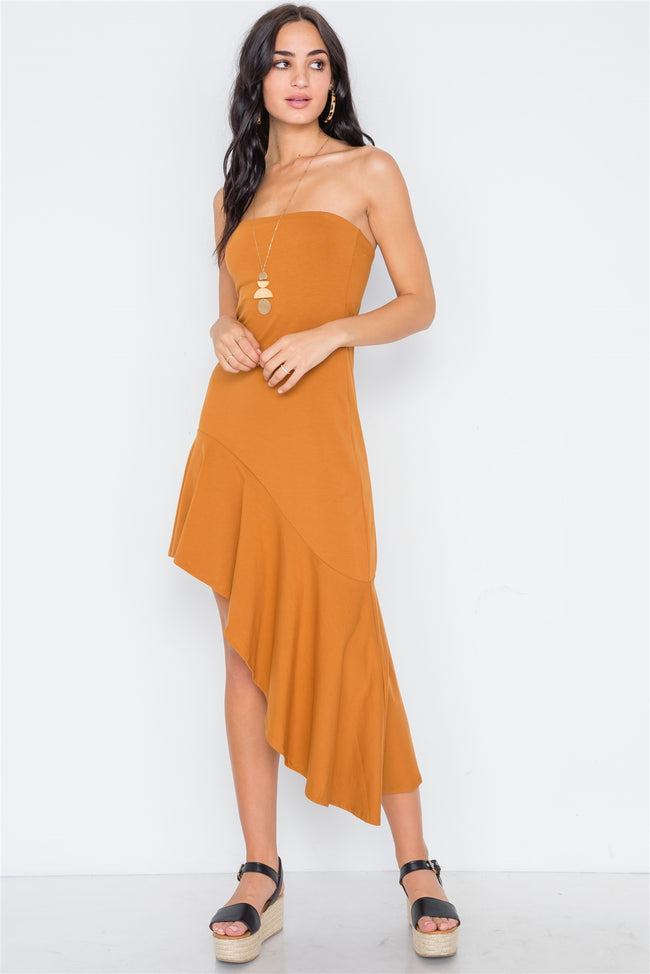 Clay Strapless Flounce Hem Solid Dress