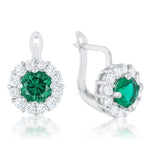 Emerald Simple Drop Earrings         	 		         	         	 		                           SIE1457R-C40