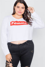 "Plus Size White 'FEMME"" Cozy Crop Sweater"