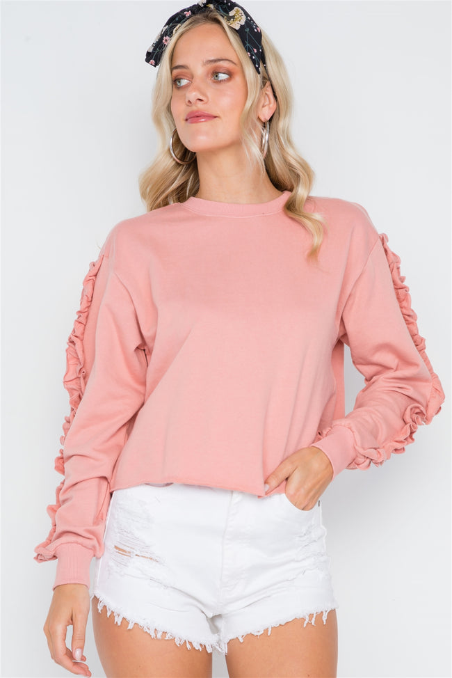 Peach Crew Neck Long Sleeve Ruffle Sweater