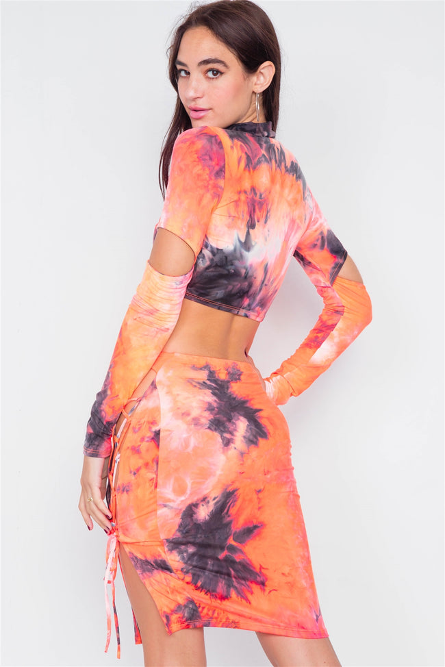 Orange Tie Dye Mock Neck Cut Out Long Sleeve & Mini Lace Up Slit Skirt Set