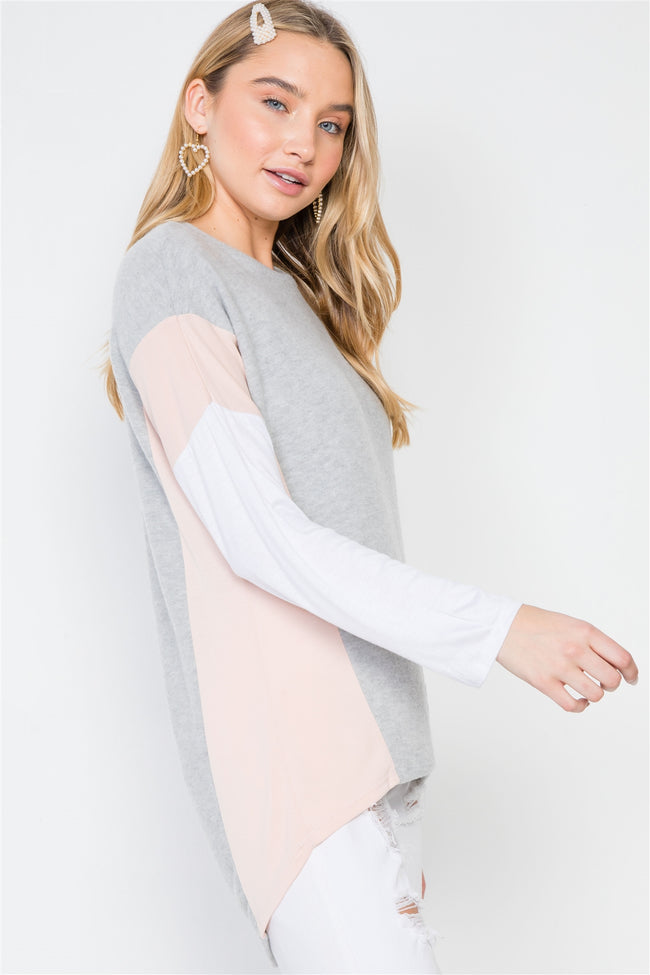 Ivory Grey Casual Color-Block Soft Sweater
