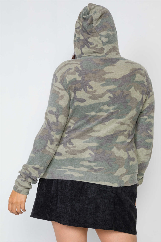 Plus Size Soft Camo Zip-Up Knit Hooded Sweater