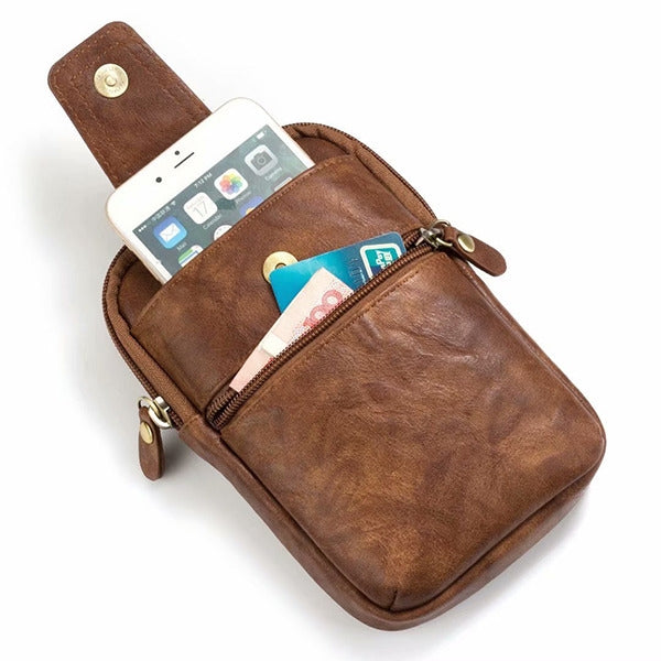 Brown Premium Leather Men's Waist Bag