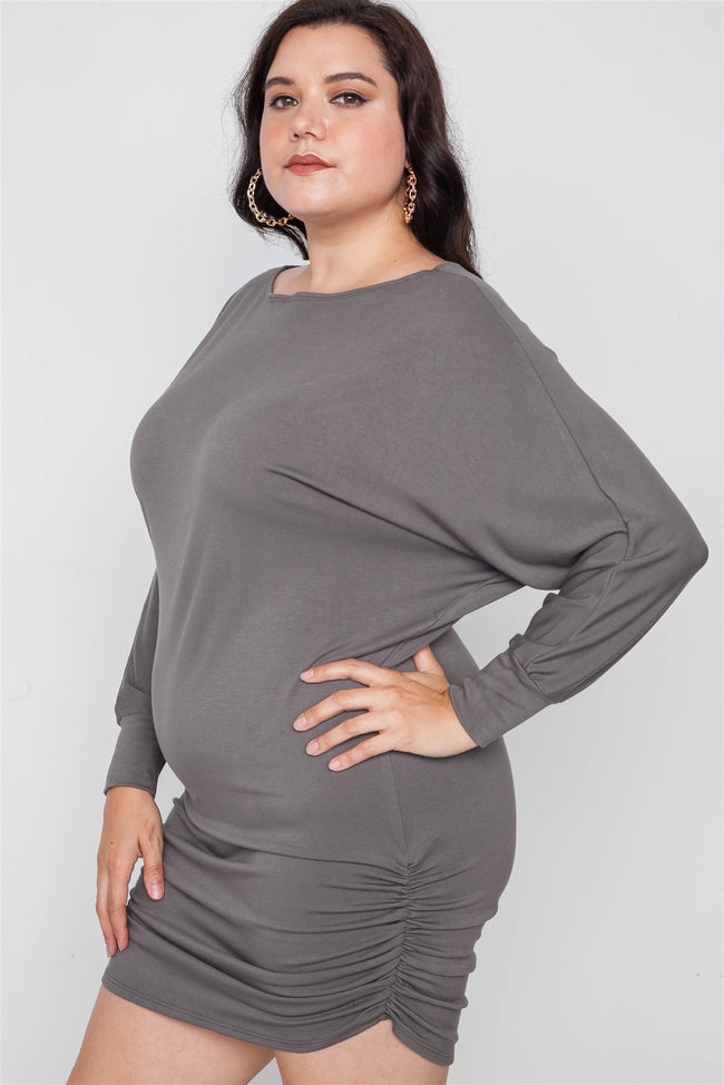 Plus Size Grey Batwing Basic Mini Dress