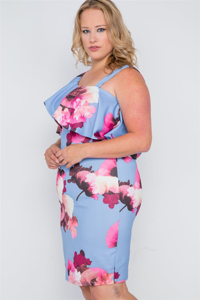 Plus Size Periwinkle Blue Floral Flounce Sleeve Dress