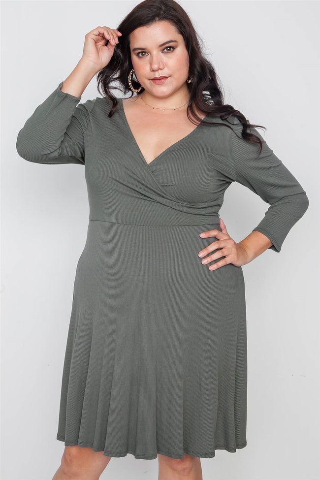 Plus Size Ribbed Military Olive V-Neck Dress