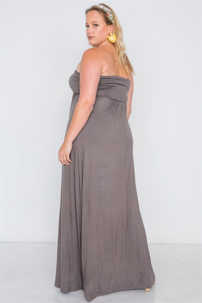 Plus Size Brown Solid Strapless Maxi Tube Dress