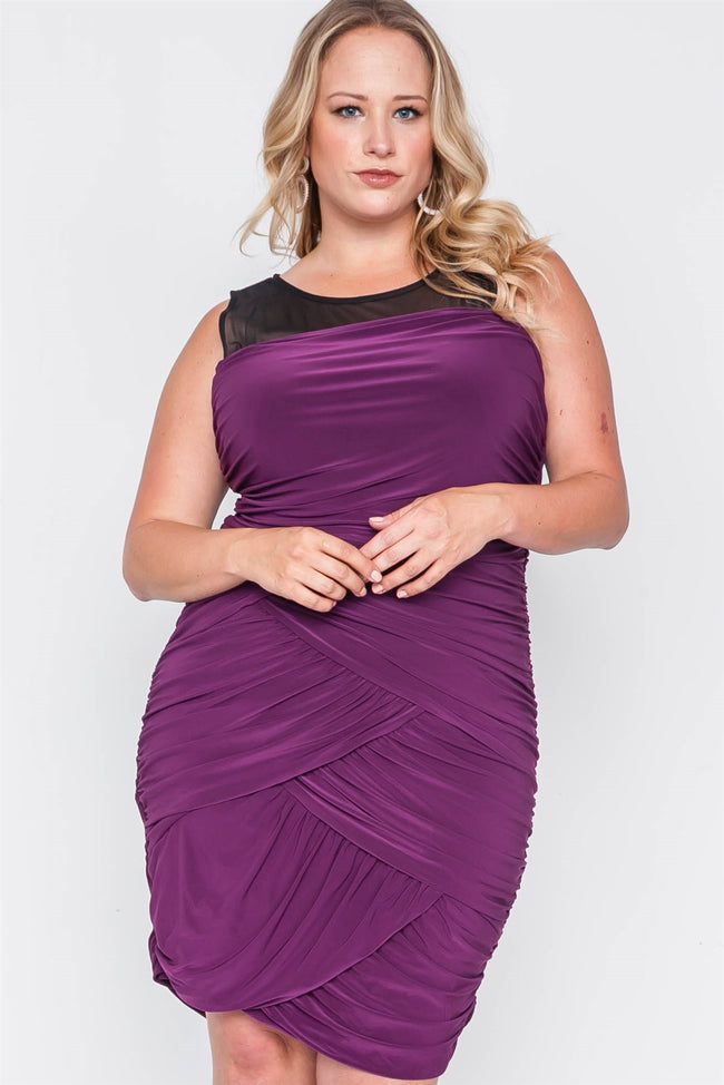 Plus Size Black Purple Combo Bodycon Mini Dress