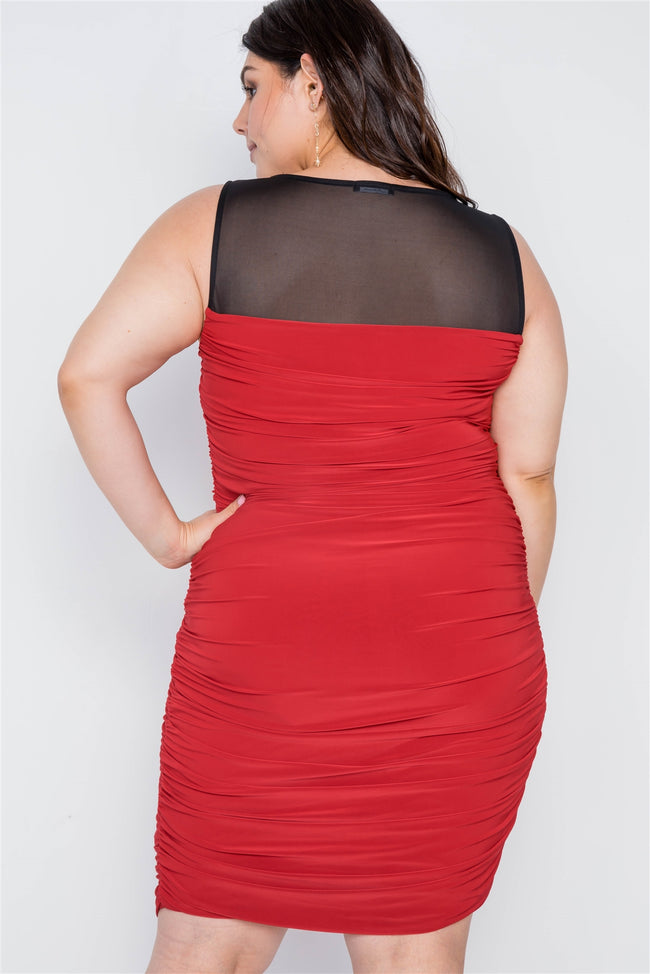 Plus Size Black Red Combo Bodycon Mini Dress