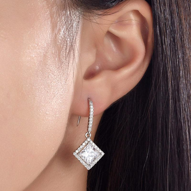 3 Carat Created Princess Cut Diamond Dangle Drop Sterling 925 Silver Earrings XFE8065