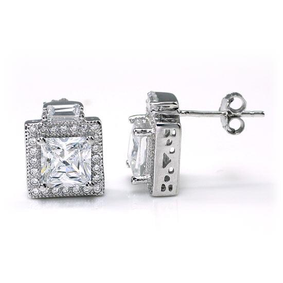 2 Carat Created Diamond Vintage Style Stud 925 Sterling Silver Earrings XFE8067