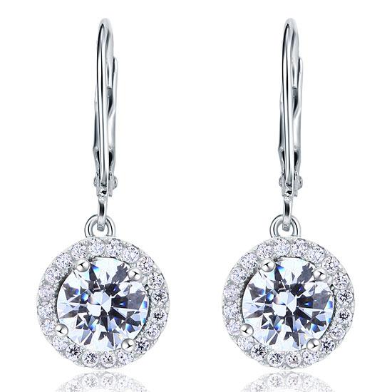Created Diamond Dangle Drop Sterling 925 Silver Earrings XFE8073