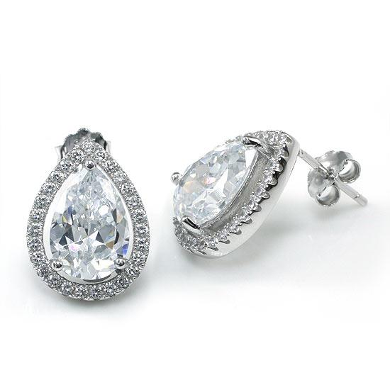 4 Carat Pear Cut Lab Created Diamond Stud 925 Sterling Silver Earrings Jewelry XFE8079
