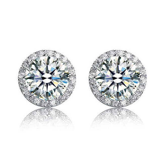2 Carat Round Cut Created Diamond Halo Stud 925 Sterling Silver Earrings XFE8102
