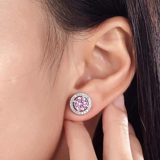 2.5 Carat Round Pink Halo (Removable) Stud 925 Sterling Silver Earrings Jewelry XFE8126