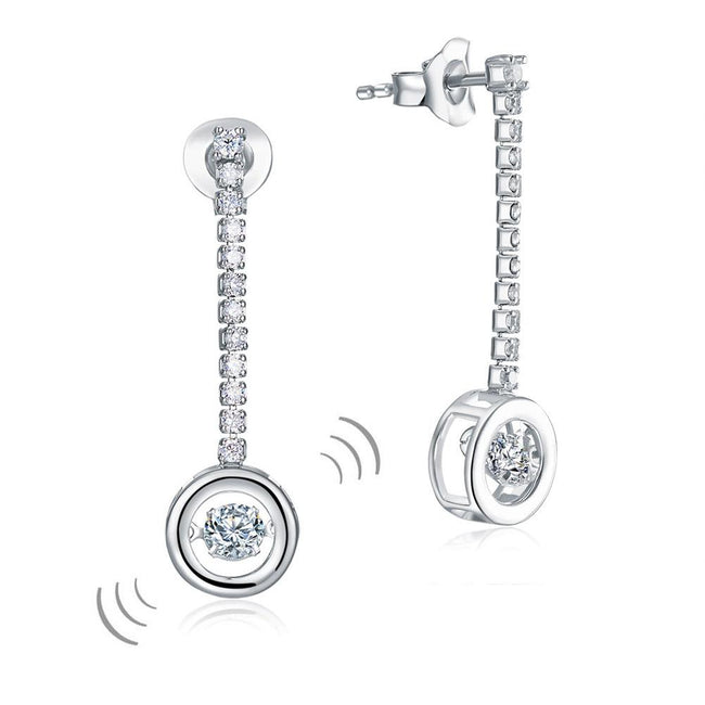 Special Unique Design Dancing Stone Earrings Dangle Drop Solid 925 Sterling Silver XFE8168