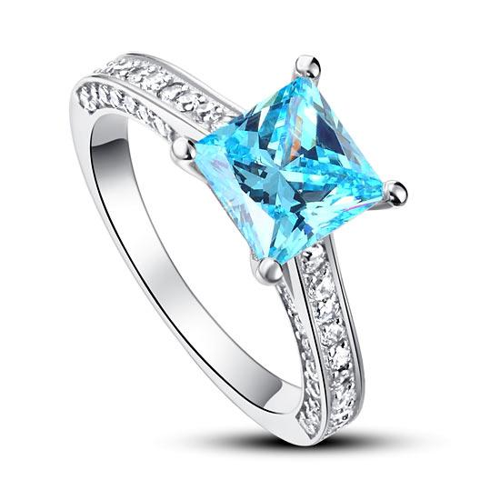 1.5 Carat Princess Cut Fancy Blue Created Diamond 925 Sterling Silver Wedding Engagement Ring XFR8196