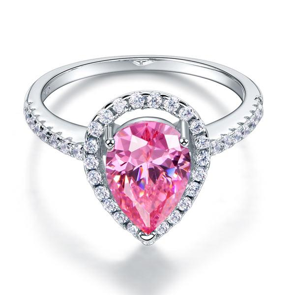Sterling 925 Silver Wedding Engagement Ring Pear Fancy Pink Created Diamond Jewelry XFR8203