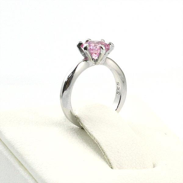 Newborn Baby 925 Sterling Silver Ring Pink Created Diamond Photo Prop XFR8208