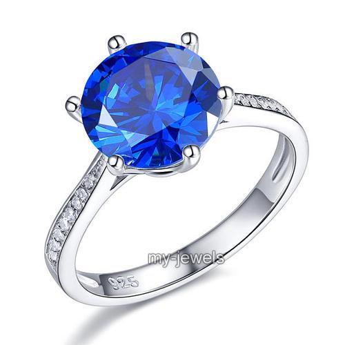 925 Sterling Silver Wedding Engagement Ring 3 Carat Blue Created Diamond Jewelry XFR8211