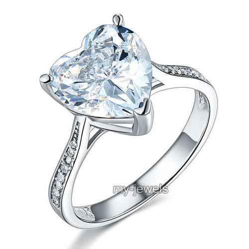 925 Sterling Silver Bridal Engagement Ring 3.5 Carat Heart Created Diamond Jewelry XFR8215